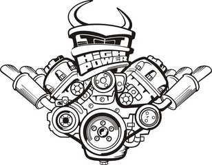 drawing high power car engine sign