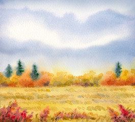 "Watercolor landscape of series of ""Steppe in different seasons"""