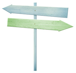 Colorful wooden roud sign