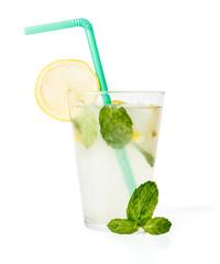Lemon squash with mint leaves