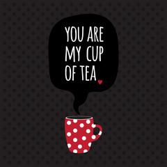 Greeting card. Lettering. I love tea.