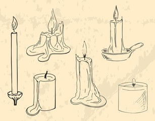 Line-art black candles