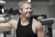 Handsome model portrait at gym