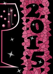 2015 new year abstract background with wine glass and mosaic