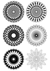 A set of black white symmetric geometric lace circles