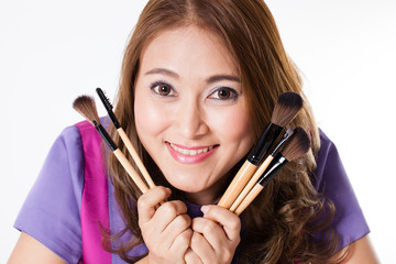 Make-up Artist,Thai beautiful make up artist holding brushes
