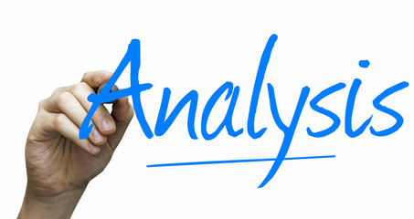Analysis hand writing with a blue mark on a transparent board