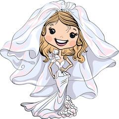 Vector Beautiful fashionable girl bride in her wedding dress