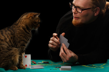 Gambler and cat