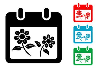 Pictograma calendario con simbolo primavera con varios colores