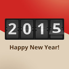Happy New Year 2015 on flip clock