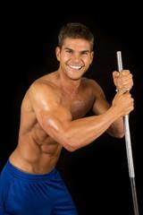 man fitness no shirt on black pole look smile