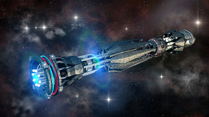 Military spacecraft in the initiating state of a warp drive