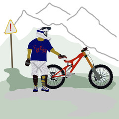 The simple image of a rider with bicycle for downhill.