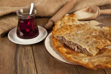 Turkish meat pie fried Cig borek Raw pie or Tatar pie