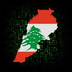 Lebanon map flag on hex code illustration