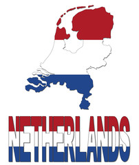 Netherlands map flag and text illustration