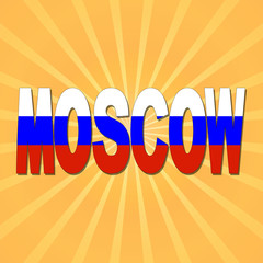 Moscow flag text with sunburst illustration