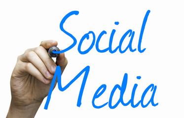 Social Media hand writing with a blue mark on board