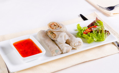 Meaty Spring Rolls Main Dish with Dipping Sauce
