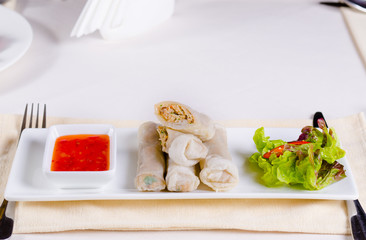Spring Rolls with Fresh Lettuce and Sweet Sauce