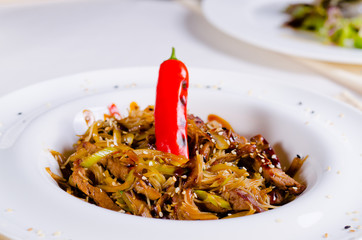 Gourmet Tasty Main Dish with Chili Pepper
