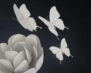 Origami roos en vlinders