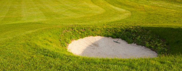 Golf bunker on a summer golf course