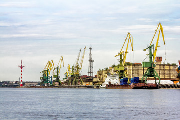Cranes in the marine cargo port of Saint-Petersburg