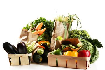 Fresh organic vegetables, isolated on white