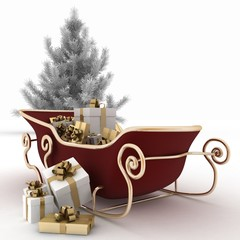 Christmas sledges of Santa with gifts and christmas tree