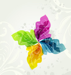Multicolor transparent floral background