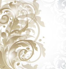 Christmas card or invitation with abstract floral elements