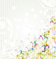 Multicolor flowers background with transparency elements for des