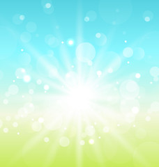 Easter nature background with lens flare