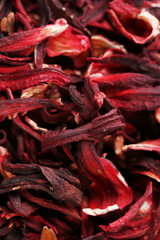 Hibiscus tea petals close-up