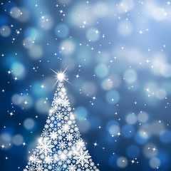 Snowflake Christmas tree background