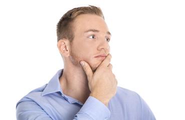 Portrait: Mann blond, blauäugig freigestellt in Hemd blau