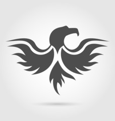 Abstract label of eagle silhouette