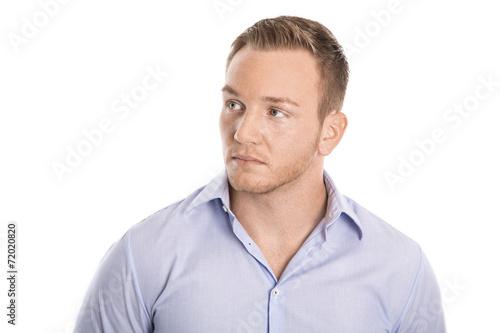 canvas print picture Portrait: schöner blonder nordischer Mann freigestellt