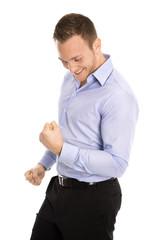 Erfolgreicher junger Business Mann glücklich vor Freude