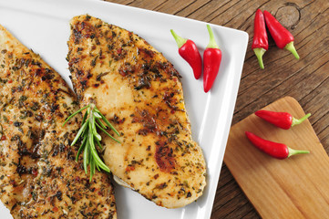 grilled chicken fillets with fines herbes