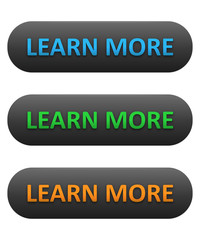 """LEARN MORE"" Web Buttons (about us more information find out)"