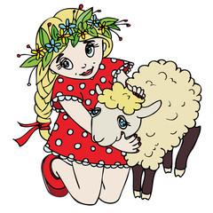cute little girl hugging a lamb