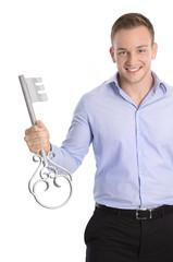Der Schlüssel zum Erfolg: Geschäftsmann isoliert