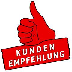 tus124 ThumbUpSign tus-v20 - Kundenempfehlung - rot g2224