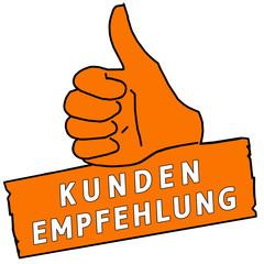 tus125 ThumbUpSign tus-v20 - Kundenempfehlung - orange g2225