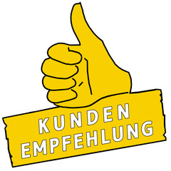 tus126 ThumbUpSign tus-v20 - Kundenempfehlung - gelb g2226