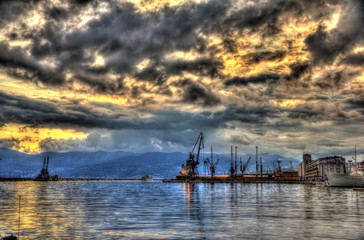 Evening view of Rijeka port in Croatia