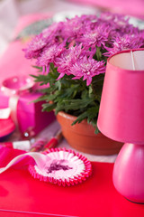 Composition of pink flowers